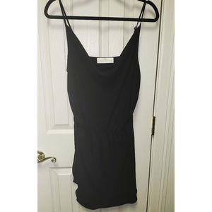 Black Strappy Dress with Ruched Neckline